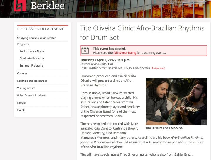 Tito Oliveira- Clinica Ritmos Afro-brasileiros / Berklee 2017
